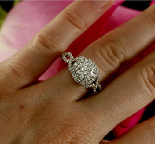 1.75Ct Round Cut Brilliant Moissanite Twisted Engagement Wedding Ring Solid 14K White Gold