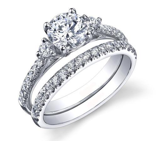 2.10Ct Round Real Moissanite Diamond 3 Stone Engagement Ring Wedding Set In 14k White Gold