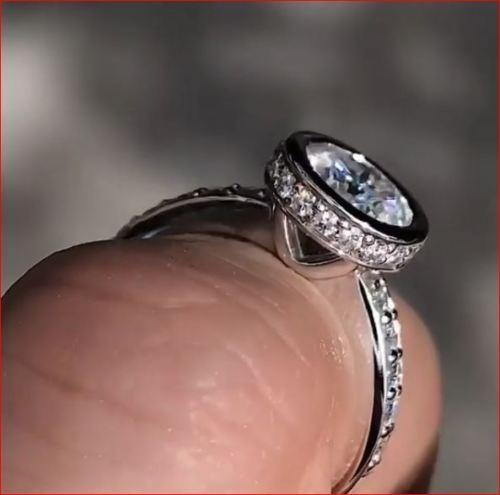 Bezel 2.Carat Certified Real Moissanite Diamond Engagement Wedding Ring 14K White Gold