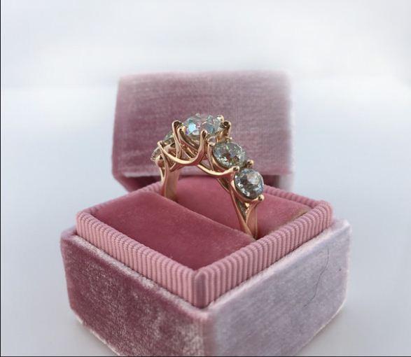 Certified 2.30Ct Real White Moissanite 5 Stone Engagement Wedding Ring 14k White Gold