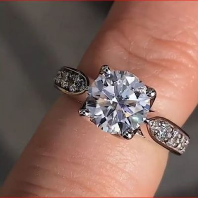 2.25Ct Round Cut Moissanite Solitaire Engagement Wedding Ring Solid 14k White Gold