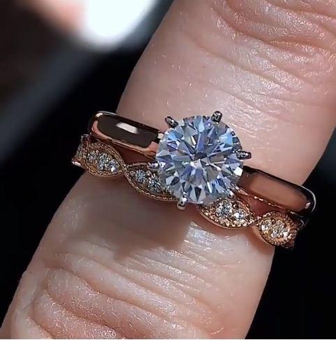 2.Ct Near White Moissanite Luxury Bridal Wedding Set Engagement Ring 14k Rose Gold