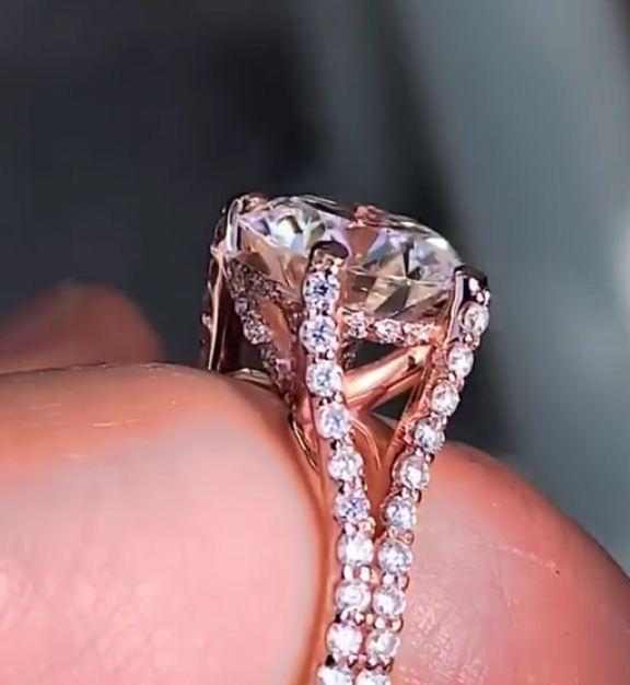 2.10Ct Real Round White Moissanite Diamond Split Shank Wedding Engagement Ring 14k Rose Gold