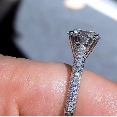 Unique 2.Ct Round Real Moissanite Diamond Solitaire Engagement Wedding Ring Solid 14K White Gold