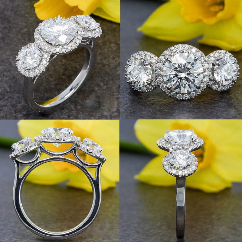 2.10Ct Round Cut Moissanite Halo Diamond Wedding Engagement Ring 14k White Gold