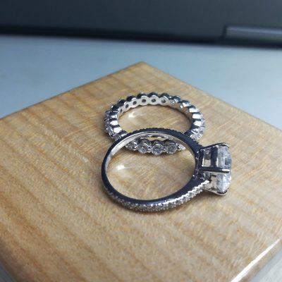 1.80Ct Brilliant Cut Near White Moissanite Classic Engagement & Anniversary Ring Set 14k White Gold