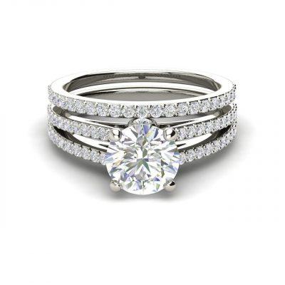 1.86Ct Brilliant Cut White Moissanite Diamond Engagement Wedding Ring Set 14k White Gold