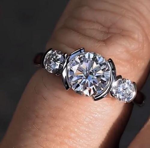 2.Ct Near White Moissanite Diamond Half Bezel Engagement Wedding Ring In 14k White Gold