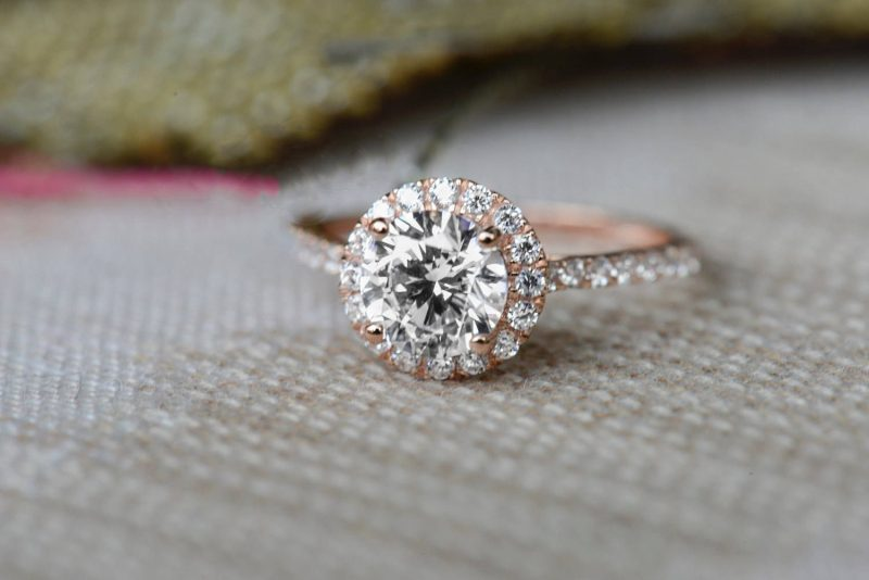 1.50Ct Round Cut White Moissanite Solitaire Engagement Wedding Ring In 14k Rose Gold