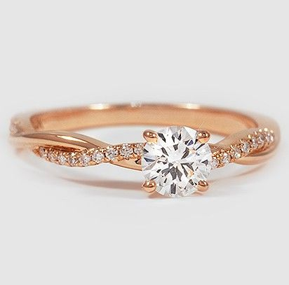 1.88Ct Excellent Cut Moissanite Twisted Engagement & Wedding Ring Solid 14K Rose Gold