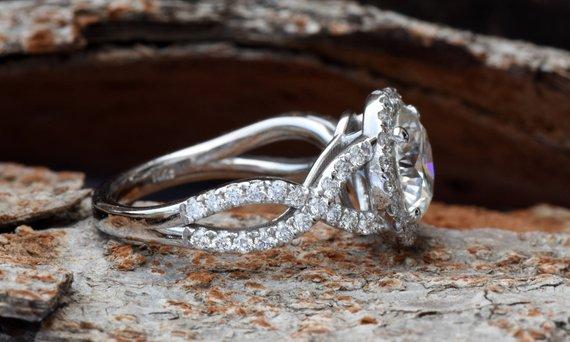 1.85Ct Round Cut Moissanite Halo Twisted Engagement Wedding Ring 14k White Gold