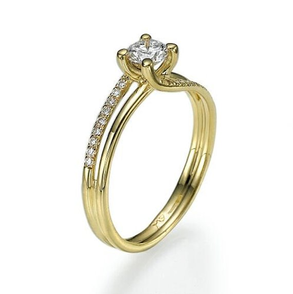 Fancy 1.55Ct Real Moissanite Solitaire Engagement Promise & Wedding Ring In 14k Yellow Gold