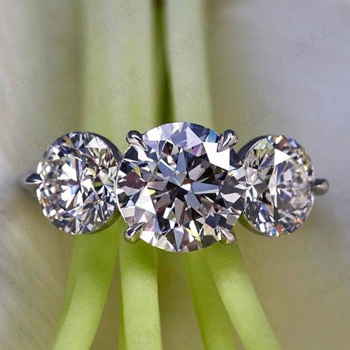 2.Ct Real Moissanite Diamond 3 Stone Engagement Wedding Ring Solid 14k White Gold