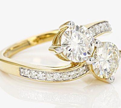 Forever 1.65Ct Excellent Cut Moissanite 2 Stone Engagement &Wedding Promise Ring 14k Yellow Gold