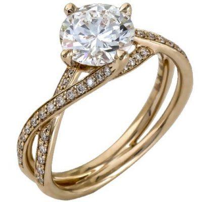 2.Ct Forever round Cut Moissanite Twist Shank Diamond Engagement & Wedding Ring 14k Rose Gold