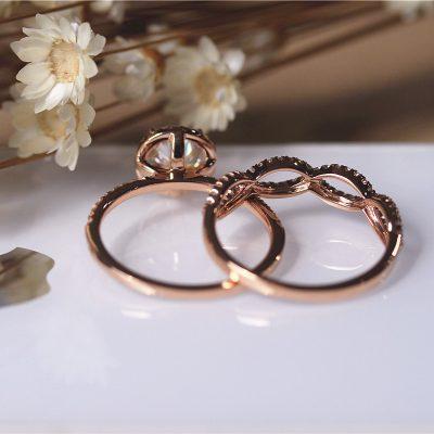 Forever 2.Ct Round Cut Moissanite Engagement Ring & Wedding Band Set 14k Rose Gold