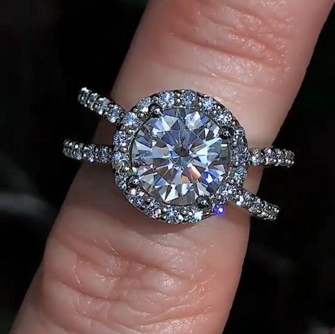 2.12Ct Real Round Moissanite Diamond Engagement Wedding Ring Solid 14k White Gold