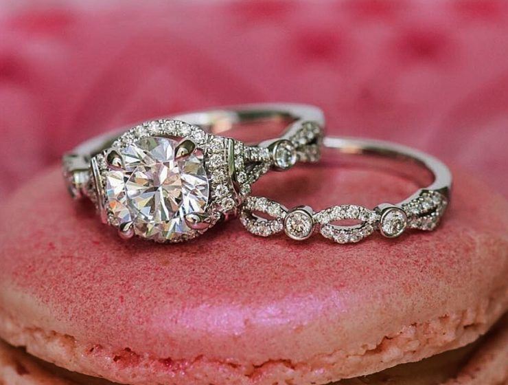 Unique 2.18Ct Round Real Moissanite Diamond Solitaire Engagement Ring & Wedding Set In 14k White Gold