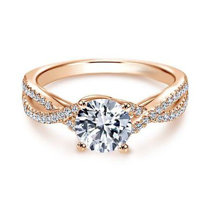 Certified 2.Ct Real Round Moissanite Solitaire Engagement & Wedding Ring 14k Rose Gold