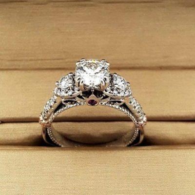 2.25Ct Brilliant Cut White Moissanite Side Stone Luxury Bridal Wedding Ring Solid 14k White Gold