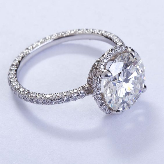 Huge 2.40Ct Brilliant Cut Moissanite Engagement & Wedding Ring Solid 14K White Gold