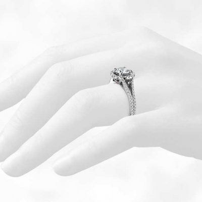 1.75Ct Near White Moissanite Halo Diamond Engagement Wedding Ring 14k White Gold