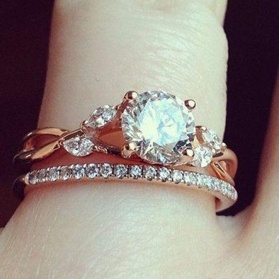 1.88Ct Real Round Shape Moissanite Diamond Engagement Ring Bridal Set 14K Rose Gold