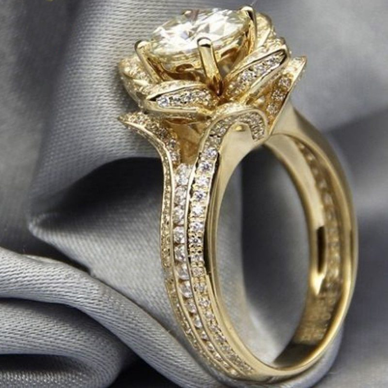1.85Ct Real White Moissanite Flower Shape Engagement Wedding Ring Solid 14k Yellow Gold