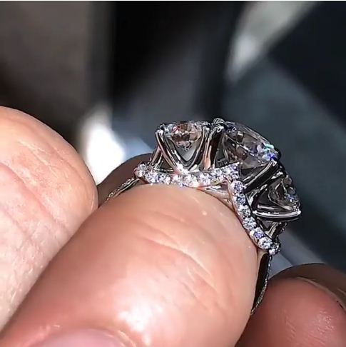 Certified 2.30Ct Brilliant Cut Moissanite 3 Stone Engagement & Wedding Promise Ring 14k White Gold