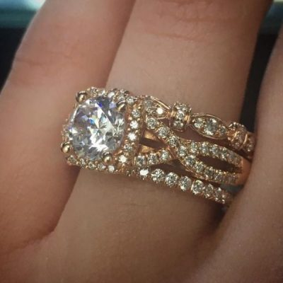 2.10Ct Real Moissanite Luxury Bridal Wedding Ring & Engagement 3 Pieces Ring Set 14k Rose Gold