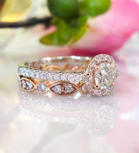 Forever 2.05Ct Round Shape Moissanite Diamond Engagement Ring & Wedding Band Set In 14k Rose Gold