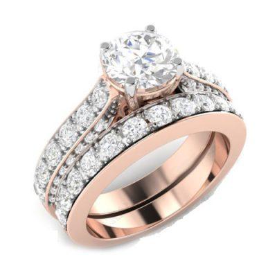 2.50Ct Round Shape Real Moissanite Engagement Ring & Bridal Wedding Set 14k Rose Gold
