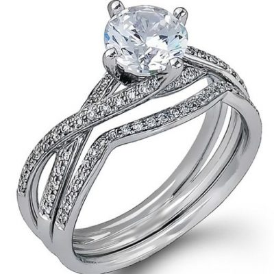 Certified 1.80Ct Brilliant Cut Real Moissanite Engagement & Wedding Ring Set 14k White Gold