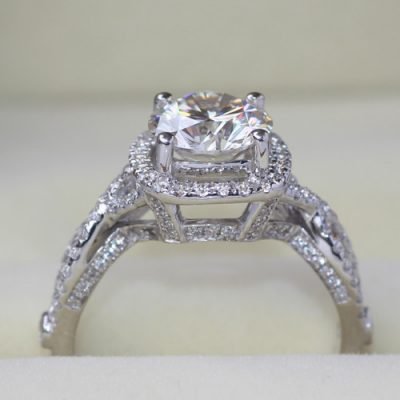 Forever 1.90Ct Excellent Cut White Moissanite Solitaire Engagement Ring Wedding Set 14k White Gold