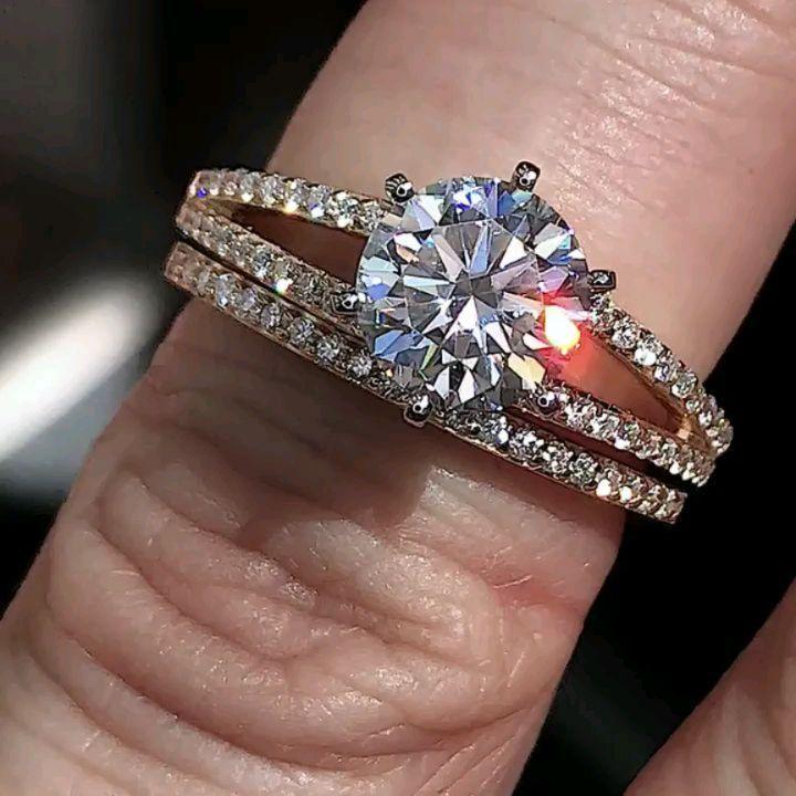 Huge 2.50Ct Real White Moissanite Diamond Engagement & Wedding Ring Set 14k Yellow Gold