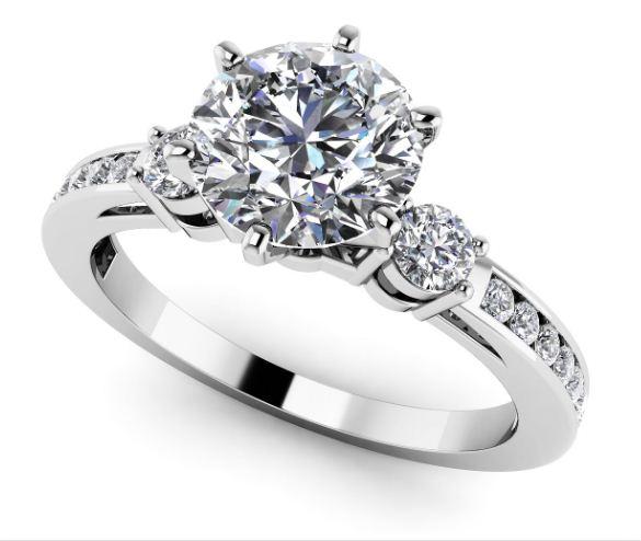 2.10Ct Forever Near White Round Moissanite Diamond 3 Stone Engagement & Wedding Ring 14k White Gold