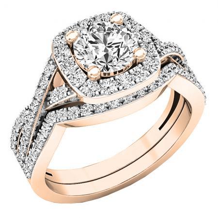 2.13Ct Excellent Cut Moissanite Twist Style Engagement & Wedding Ring Set 14k Rose Gold