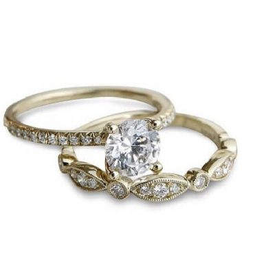 2.15Ct Real Round Brilliant Moissanite Solitaire Engagement Ring & Wedding Set 14k Yellow Gold