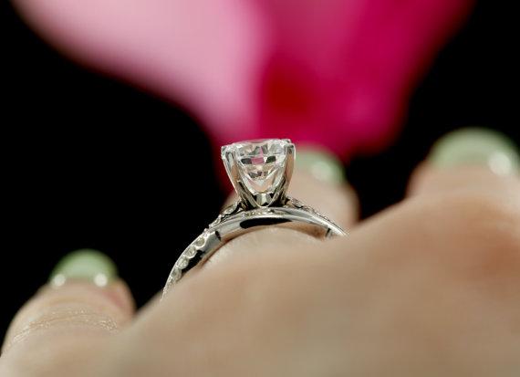 1.80Ct Near White Moissanite Diamond Twist Style Engagement Wedding Ring 14k White Gold