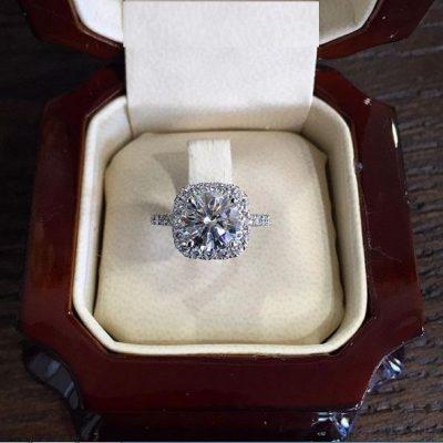 2.35Ct Round Cut Moissanite Cushion Shape Luxury Bridal Engagement Wedding Ring 14K White Gold