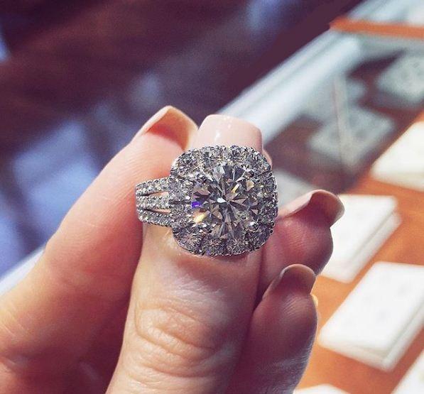 2.25Ct Near White Round Moissanite Halo Triple Shank Engagement Wedding Ring 14k White Gold