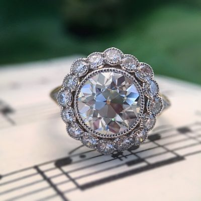 2.15Ct Brilliant Cut Real Moissanite Bezel Style Engagement & Wedding Ring Solid 14k Yellow Gold