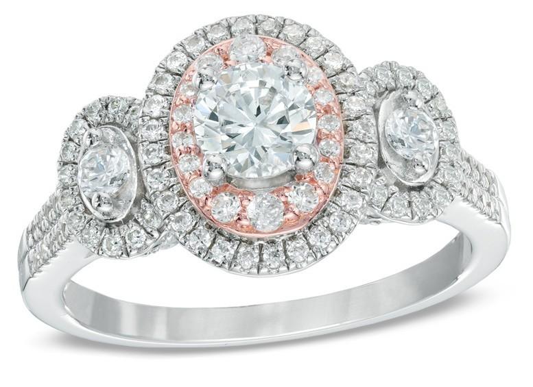Designer 2.Ct Round Cut Moissanite 3 Stone Halo Wedding & Engagement Ring 14K White Gold