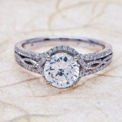 1.86Ct Excellent Cut White Moissanite Twisted Engagement Wedding Ring Solid 14k White Gold