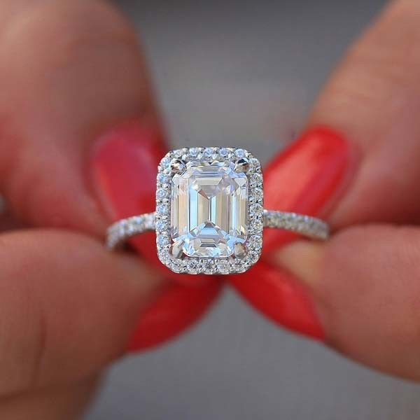 1.90Ct Fancy Emerald Cut Diamond Engagement & Wedding Promise Ring 925 Sterling Silver