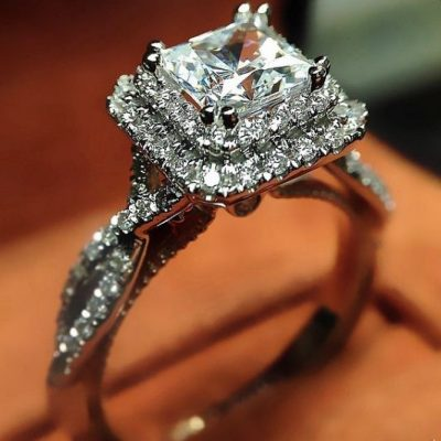1.88Ct Princess Cut Solitaire Diamond Twist Style Wedding Engagement Ring 925 Starling Silver