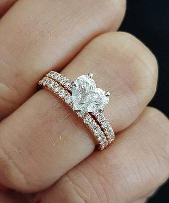 1.75Ct Brilliant Heart Shape Diamond Bridal Engagement Ring & Wedding Band Set 14k Rose Gold Over