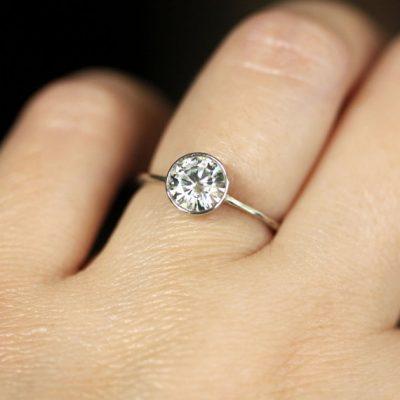 2.10Ct Near White Moissanite Bezel Style Engagement & Wedding Ring 2 Band Set 14k Yellow Gold