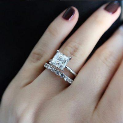 2.10Ct Princess Cut Real Diamond Luxury Royal Engagement & Wedding Ring 925 Sterling Silver