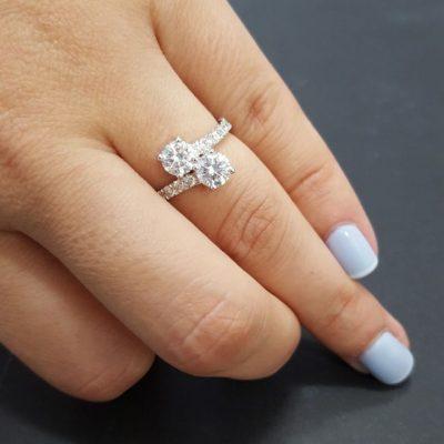 Forever 1.72Ct Round Shape Moissanite 2 Stone Engagement & Wedding Bridal Ring 14k White Gold